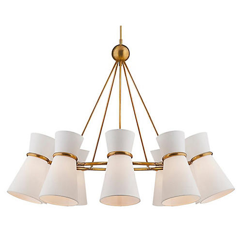 Clarkson Chandelier, Antiqued Brass