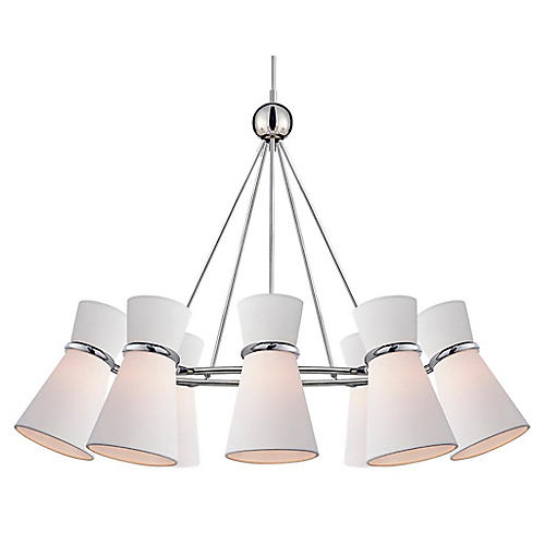 Clarkson Chandelier, Polished Nickel