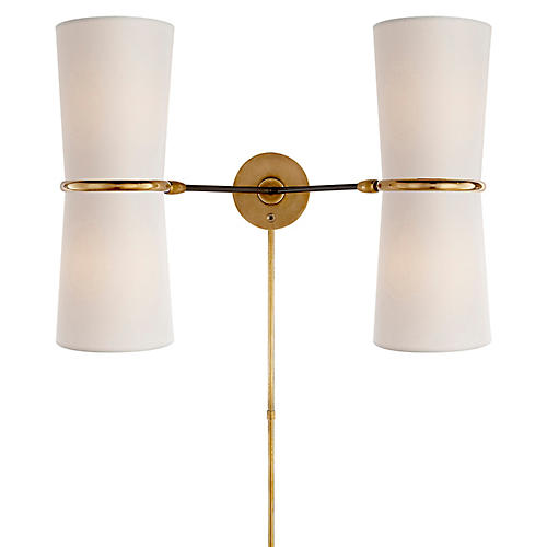 Clarkson Double Sconce, Black/Brass