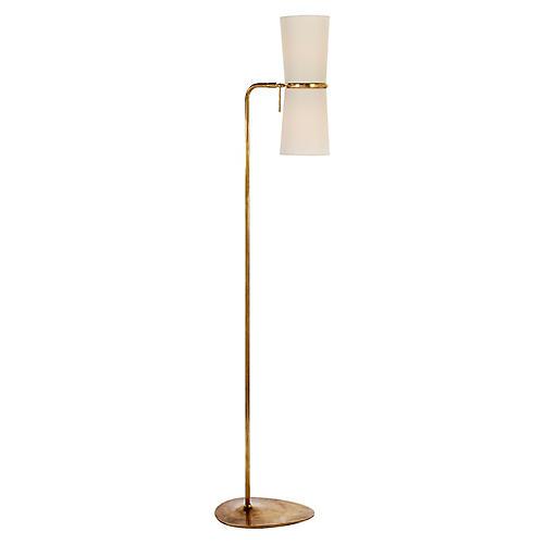 Clarkson Floor Lamp, Antiqued Brass