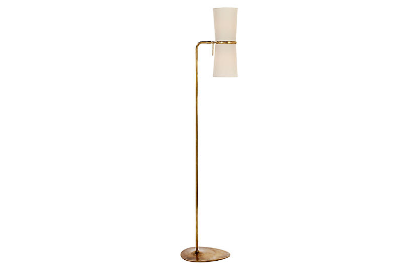 Clarkson Floor Lamp, Antiqued Brass