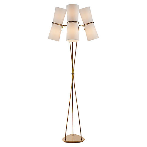Clarkson Triple Floor Lamp, Antiqued Brass