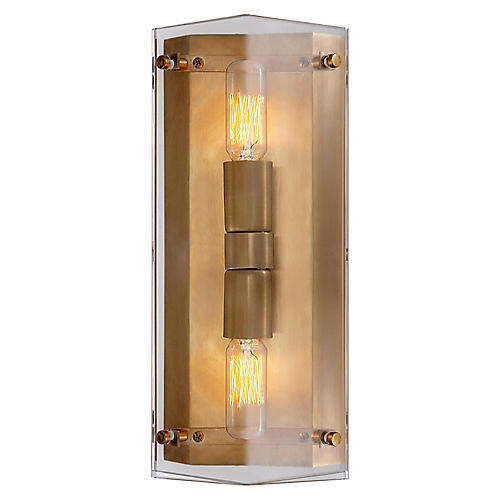 Clayton Wall Sconce, Clear/Brass