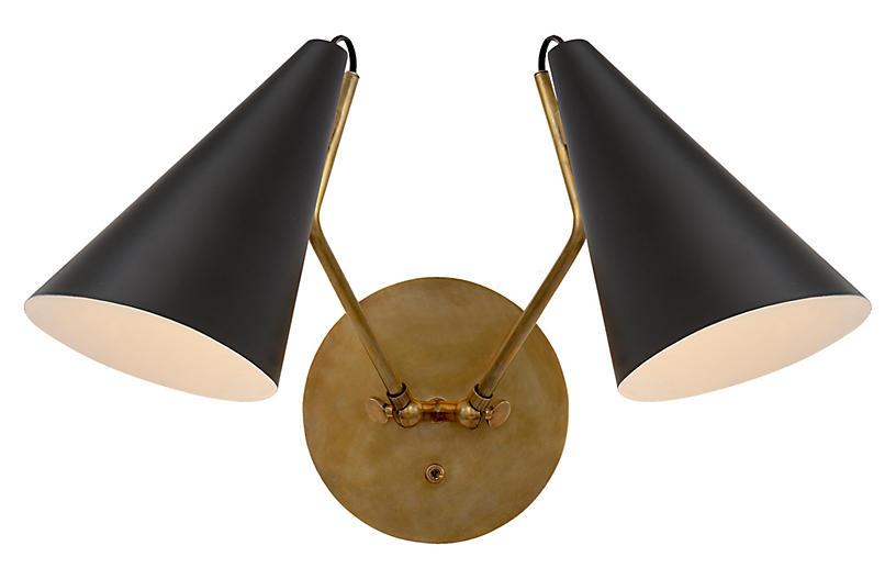 Clemente Double Sconce, Matte Black/Brass