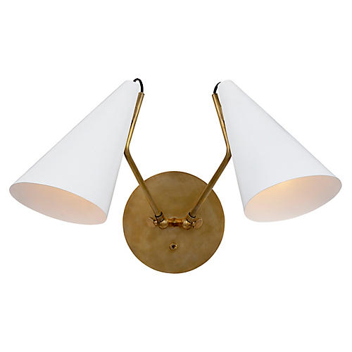Clemente Double Sconce, Matte White/Brass