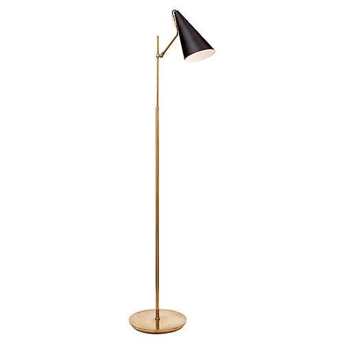 Clemente Floor Lamp, Black/Brass