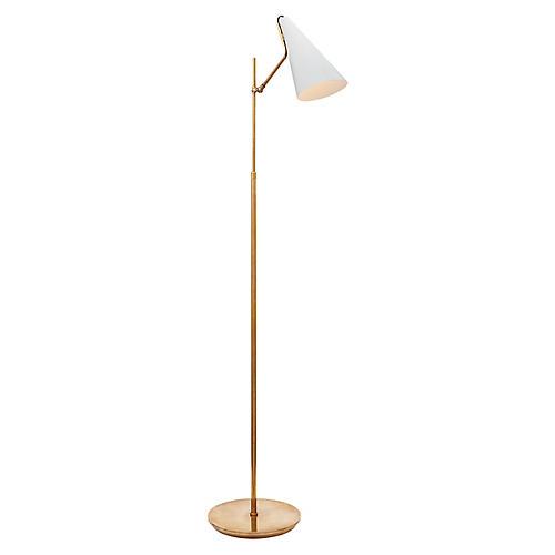 Clemente Floor Lamp, White/Brass