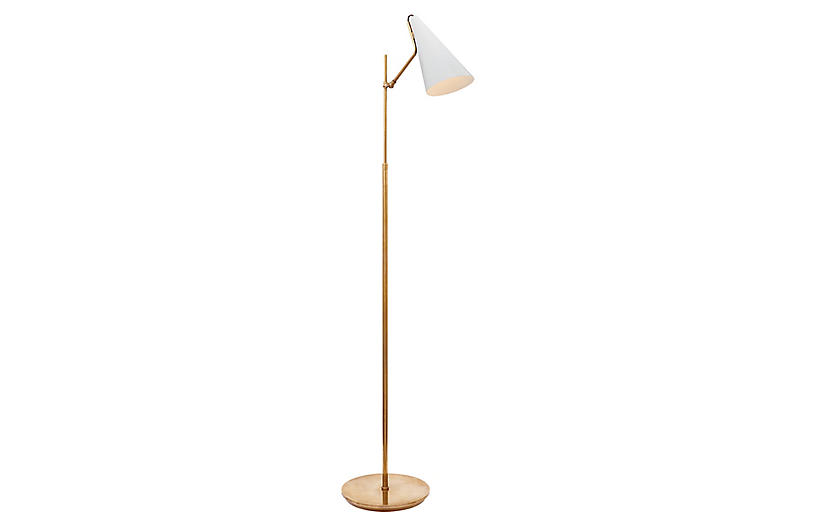 Clemente Floor Lamp, White/Brass