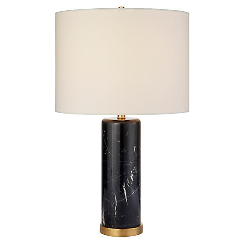 Cliff Table Lamp, Black Marble
