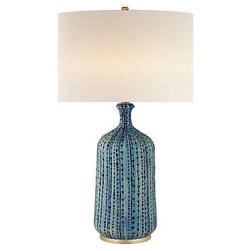 Beautiful Culloden Table Lamp, Pebbled Aquamarine. AERIN