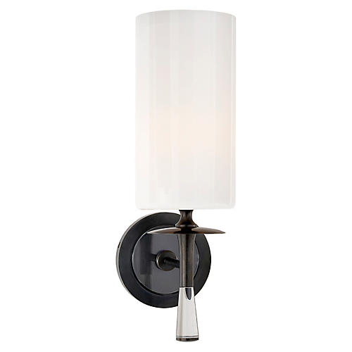 Drunmore Single Sconce, Bronze/Clear/White