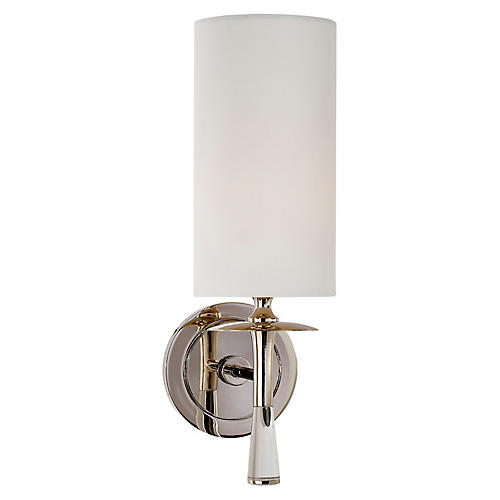 Drunmore Single Sconce, Nickel/Clear/Off-White