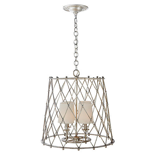 Edgerly Hanging Shade Pendant, Silver Leaf