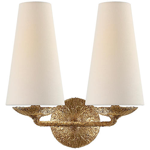 Fontaine Double Sconce, Gilded Plaster