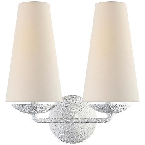 Fontaine Double Sconce, Plaster White