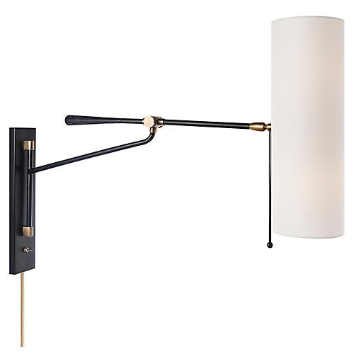 Frankfort Articulating Wall Sconce, Black/Brass
