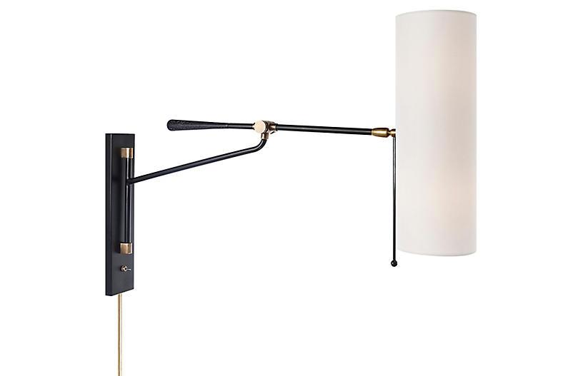 Frankfort Articulating Wall Sconce, Black/Brass