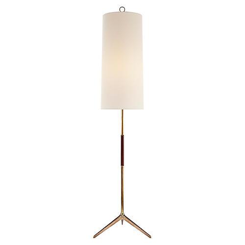 Frankfort Floor Lamp, Brass/Mahogany