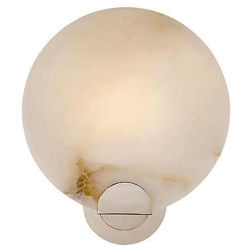 Iveala Single Sconce, Alabaster/Polished Nickel