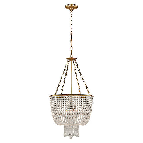 Jacqueline Chandelier, Antiqued Brass/Clear