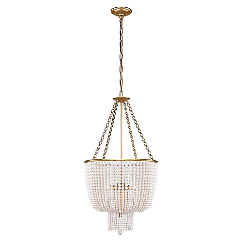Jacqueline Chandelier, Antiqued Brass/White