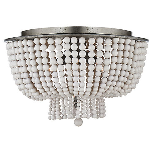 Jacqueline Flush Mount, Silver Leaf/White