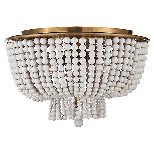 Jacqueline Flush Mount, Antiqued Brass/White