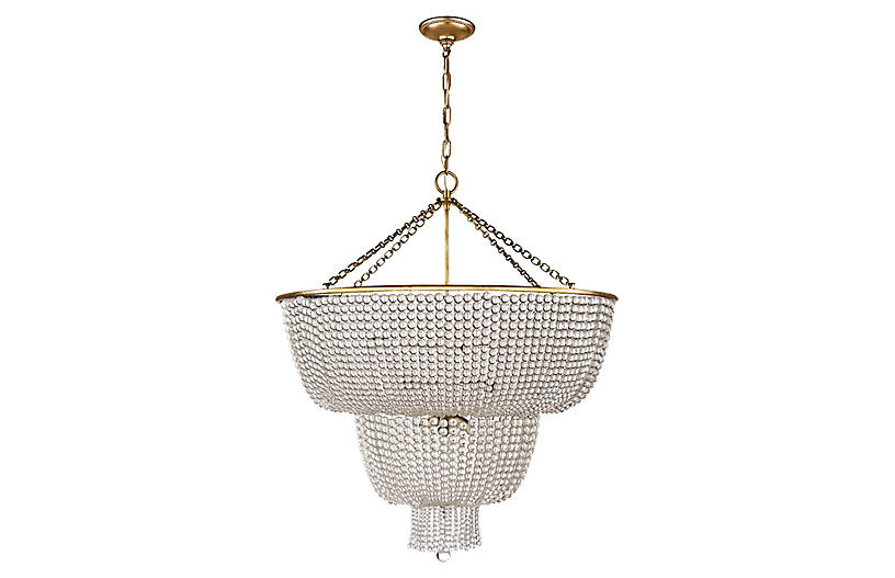 Jacqueline Two-Tier Chandelier, Brass/Clear