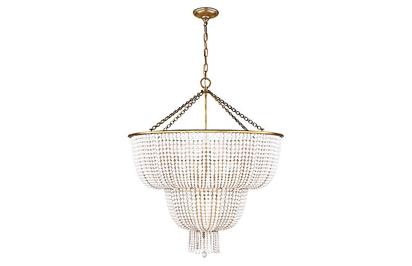 Jacqueline Two-Tier Chandelier, Brass/White