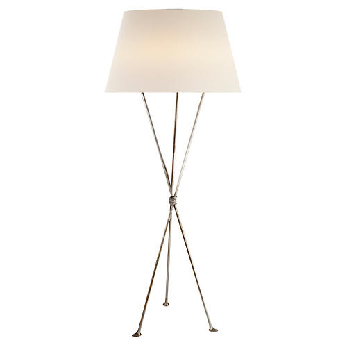 Lebon Floor Lamp, Burnished Silver Leaf