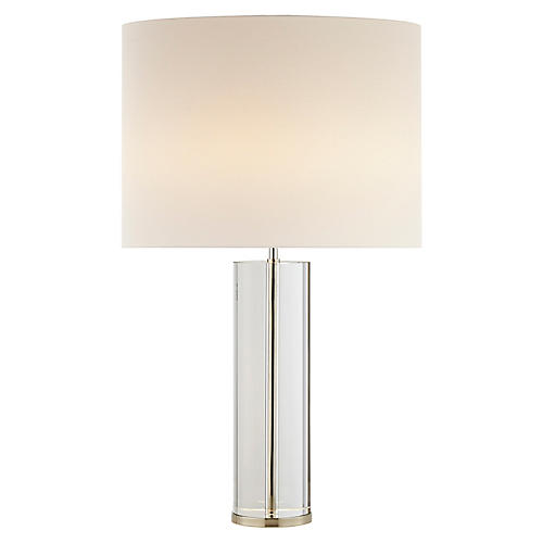 Lineham Table Lamp, Clear Crystal/Nickel