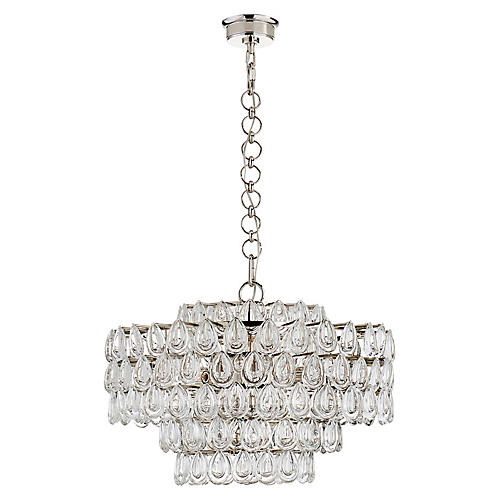 Liscia Chandelier, Polished Nickel/Clear