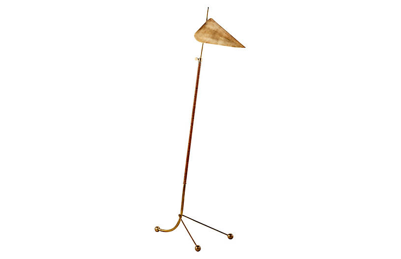 Moresby Floor Lamp, Antiqued Brass