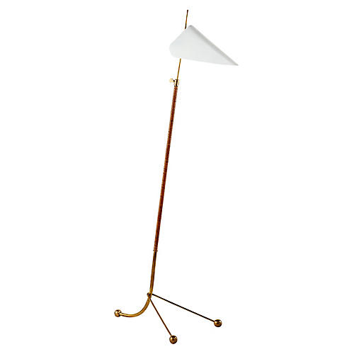 Moresby Floor Lamp, Antiqued Brass/White