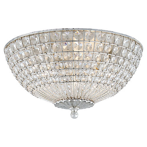 Renwick Flush Mount, Silver Leaf/Clear Crystal