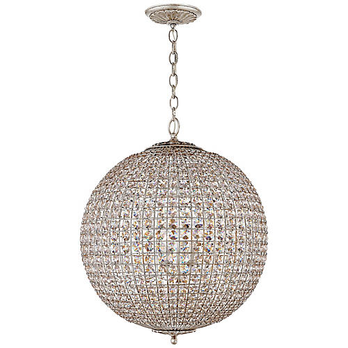 Renwick Large Sphere Pendant, Silver/Clear Crystal