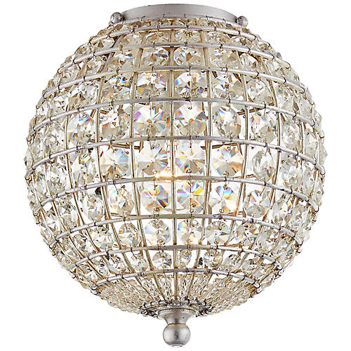 Renwick Small Flush Mount, Silver/Clear Crystal
