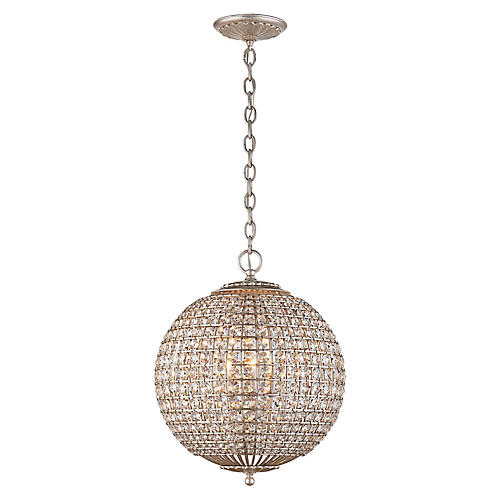 Renwick Small Sphere Pendant, Silver/Crystal