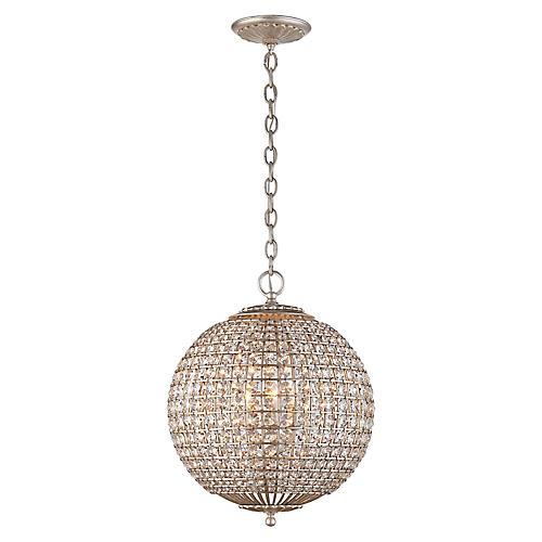 Renwick Small Sphere Pendant, Silver/Crystal