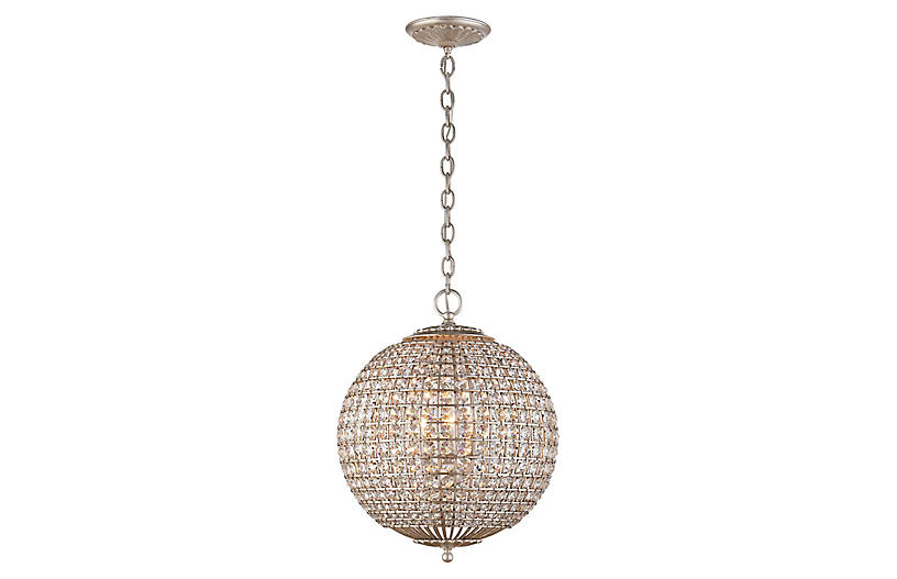 Renwick Small Sphere Pendant - Silver/Crystal - AERIN