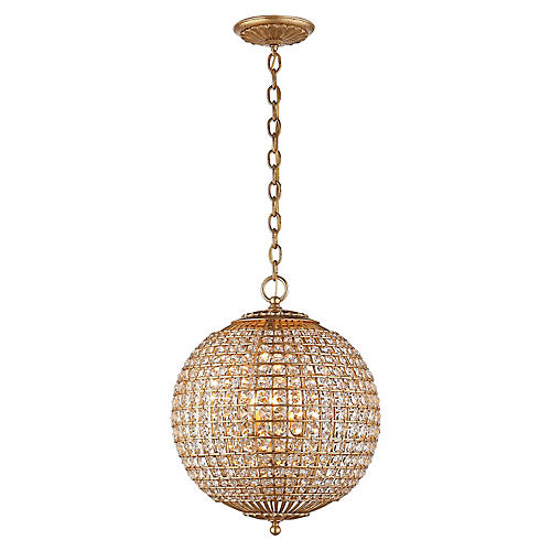 Renwick Small Sphere Pendant, Gild/Crystal