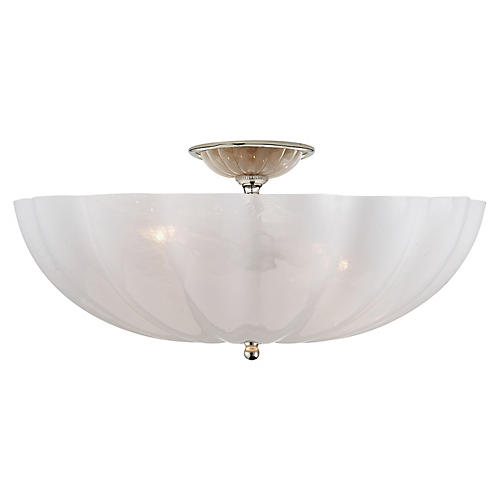 Rosehill Large Flush Mount, Polished Nickel/White