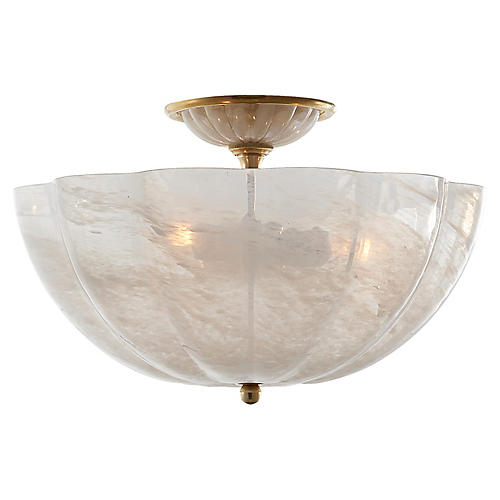 Rosehill Semi-Flush, Antiqued Brass/White