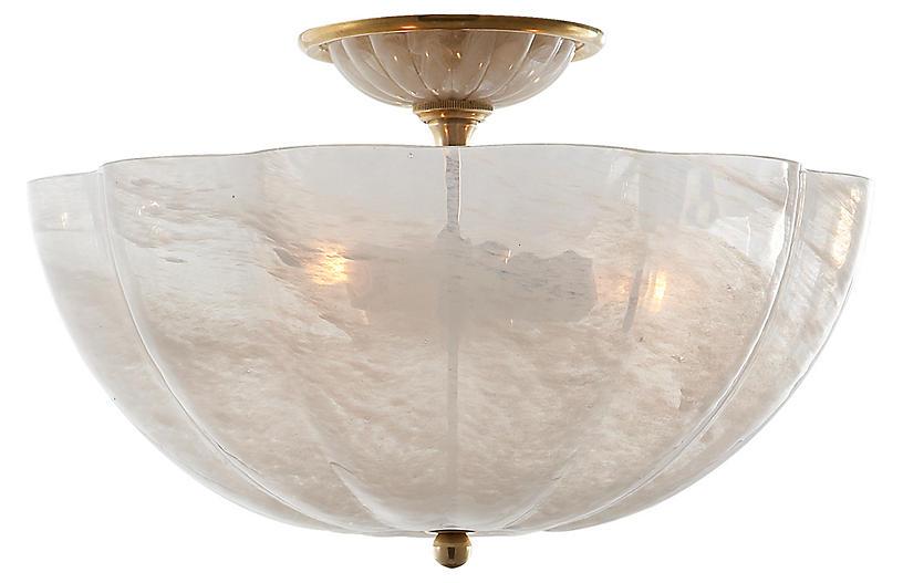 Rosehill Semi-Flush, Antiqued Brass/White