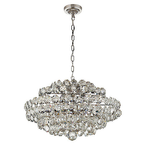 Sanger Small Chandelier, Nickel/Clear Crystal