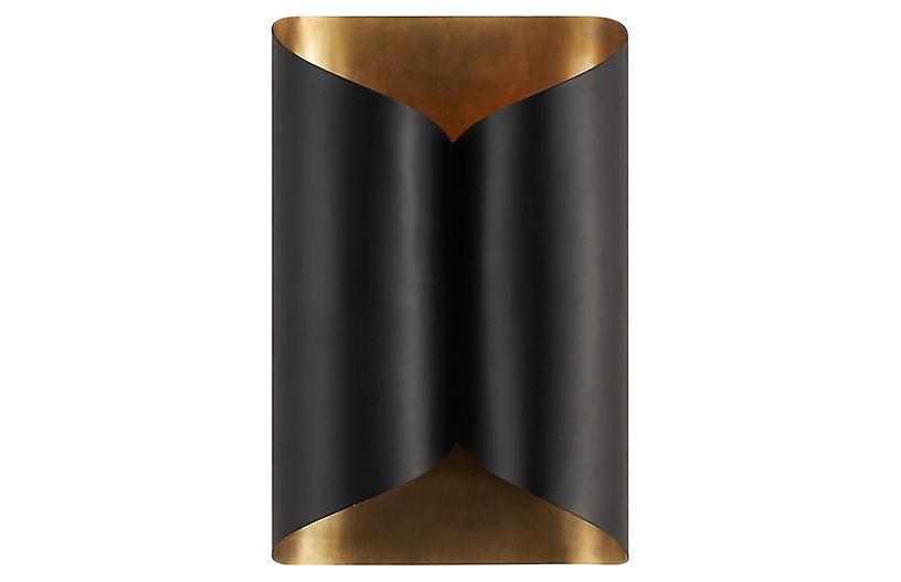 Selfoss Sconce, Black/Antiqued Brass