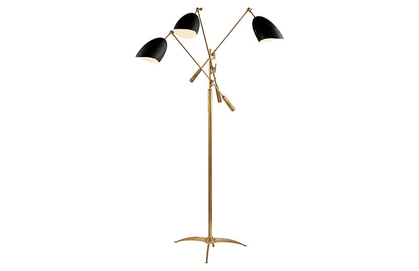 Sommerard Triple-Arm Floor Lamp, Brass/Black