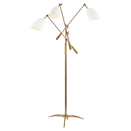 Sommerard Triple-Arm Floor Lamp, Brass/White