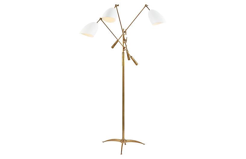 Sommerard Triple-Arm Floor Lamp, Brass/White