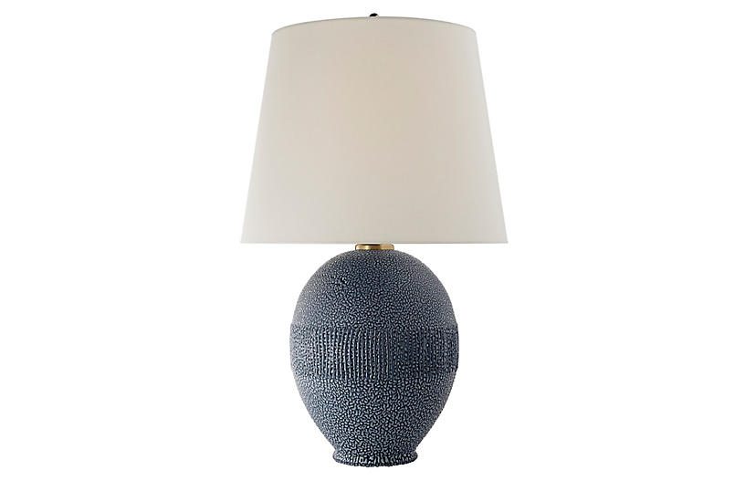 Toulon Table Lamp, Beaded Blue